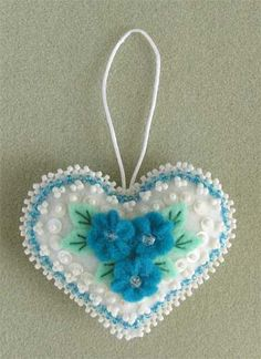 Beaded Felt Heart ... ornament ... white and blue ... sweet forget-me-nots ...