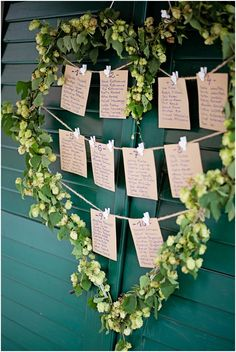 Seating plan in green heart garland