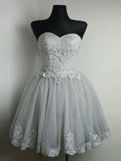 Strapless Sweetheart Neck Grey Homecoming Dresses Lace Appliqued Short Prom Dresses,apd2582