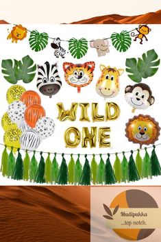 1st Birthday Boy Gifts, Animal Themed Birthday Party, Baby Birthday Themes, Jungle Theme Birthday, Wild One Birthday Party, Boy Birthday Parties, Birthday Balloons, Hawaiian Birthday, 2nd Birthday