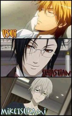 Usui (Kaichou wa Maid-sama), Sebastian (Black Butler), and Miketsukami (Inu x Boku SS) all have the same voice. Anime Sexy, Tv Anime, Anime Plus, Hot Anime Boy, Cute Anime Guys, I Love Anime, Awesome Anime, Manga Anime, Anime Stuff