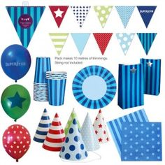 #bambinibirthday The perfect party pack for your next special occasion! Take the hassle and stress out of party planning with our Party Packs! Sherbet Blue Party Pack features a blue and lime theme perfect for your little boy's first birthday, christening or baby shower!Includes:12 x Plates12 x Cups12 x Party Bags12 x Party Hats20 x Napkins18 x Balloons1 x Pack of 50 Party FlagsBONUS: 12 Safari Pencils for your party bags with every Party Pack sold!