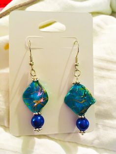Deep Ocean Blue by TorrentsTreasures on Etsy  Special Earrings! Only $10.00! Only ONE pair left! Come grab it while you can!!   #handmadeearrings #handmade #earrings #oneofakind