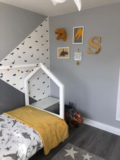 No dinosaur bedroom is complete without a tyrannosaurus rex or T Rex which is why we think this wall art is roar-some. Boys Dinosaur Bedroom, Boy Toddler Bedroom, Girls Bedroom, Childrens Room Decor, Boys Room Decor, Girl Room, Bedroom Decor, Kids Bedroom Designs, Home Decor