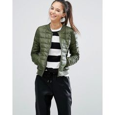 Only Padded Bomber Jacket (250 SAR) ❤ liked on Polyvore featuring outerwear, jackets, green, green bomber jacket, zipper jacket, tall jackets, nylon bomber jacket and zip pocket jacket