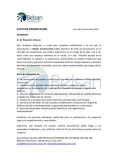 CARTA DE PRESENTACIÓN Lima 18 de Noviembre 2014 ESTIMADO: Sr. D. Ricardo L… Letterhead, 1, Lettering, School, Turbans, Empanadas, Stickers, Google, Ideas
