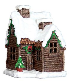 Another great find on #zulily! Lighted 12'' Holiday Log Cabin #zulilyfinds
