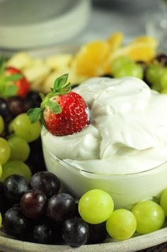 Grand Marnier & Spiced Rum Fruit Dip ... light, fluffy, and super delicious.  {The Kitchen is My Playground}