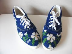 Royal Blue Needlepoint Tennis Shoes, Size 6.