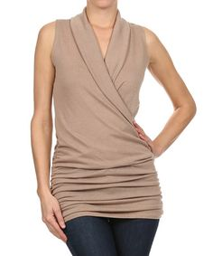 Another great find on #zulily! Khaki Sleeveless Surplice Top by J-Mode USA Los Angeles #zulilyfinds