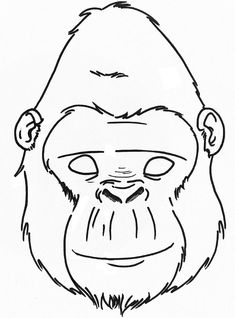 Gorilla mask templates including a coloring page version for Sloth mask template
