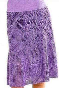 Летняя юбка филейным узором. Схема юбки филейным узором |