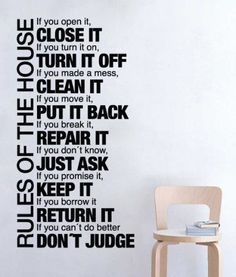 Quote wall decal - Rules of the House - Wall Decals , Home WallArt Decals i have a great spot in my kitchen for this idea:) Airbnb House Rules, House Rules Sign, Home Rules, Family Rules Sign, Roommate Rules, Roommates, Roommate Humor, Wall Stickers, Wall Decals