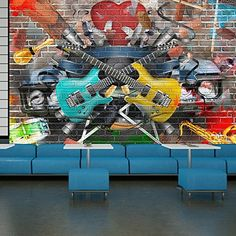 Guitar Music Wall Mural Graffiti Photo Wallpaper Kids Bedroom Home Decor available in 8 Sizes XXXLarge Digital *** Visit the image link more details. (This is an affiliate link and I receive a commission for the sales) Music Graffiti, Graffiti Wall Art, Graffiti Wallpaper, Photo Wallpaper, Wall Wallpaper, Wall Stickers Murals, Wall Murals, Home Design 2017, Music Wall