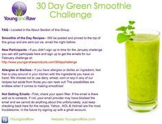 30 Day Smoothie Challenge ~ Shopping Lists and Recipes!    Young and Raw