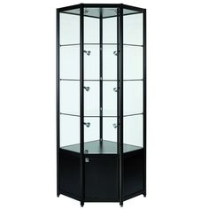 Black Glass Corner Cabinet with Storage, finished in a beautiful brushed aluminium, supplied with LED lights and locking doors.