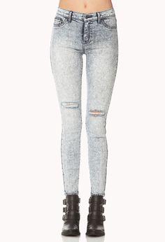 Distressed Acid Wash Skinny Jeans | FOREVER21 Do you rock acid washed or bleached denim? #Jeans #Skinnies #AcidWash