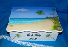 Beautiful Painted Personalized Wedding Gift Box, Large Handmade Wood Beach Keepsake Card Holder, Gift For The Bride, Wedding Shower Gift Wedding Keepsake Boxes, Wedding Cards Handmade, Wedding Gift Boxes, Wedding Keepsakes, Personalized Wedding Gifts, Beach Keepsakes, Wedding Envelope Box, Marriage Gifts, Wedding In The Woods