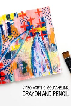 Mixing different materials in this art journal page. Watch the layers of gouache, acrylic, ink, pencil and crayons. Liquitex Paint Marker, Paint Pens, Paint Markers, Art Journal Pages, Art Journaling, Beginner Art, Art Journal Tutorial, Free Printable Art, Art Uk