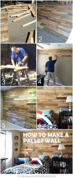 DIY Tutorial for how-to build a pallet wall to create a rustic + warm feel to a space. Lots of labor BUT FREE! Tutorial @ www.JennaBurger.com
