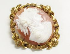 Huge Antique Victorian Hand Carved Shell Cameo GF Victorian