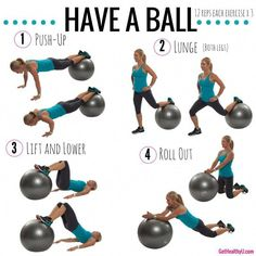 Grab your stability ball and get in a quick total-body workout! Do each exercise for 12 reps and repeat 3 times. Grab your stability ball and get in a quick total-body workout! Do each exercise for 12 reps and repeat 3 times. Body Fitness, Fitness Home, Workout Fitness, Physical Fitness, Muscular Strength Exercises, Stability Ball Exercises, Easy Workouts, At Home Workouts, Free Workout Plans