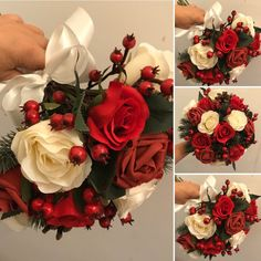 A Christmas wedding bouquet of artificial red and ivory roses Ivory Roses, Ivory Silk, Silk Roses, Christmas Wedding Bouquets, Artificial Wedding Bouquets, Wedding Ties, Ribbon Bows, 9 And 10, Berries