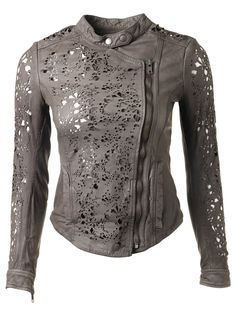 Muubaa Delaney Laser Cut Leather Biker Jacket in Sage Grey - Jackets from Muubaa UK.........this will be mine!