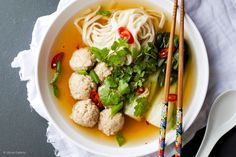Lemongrass & ginger chicken meatballs with spicy broth