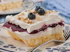 Blueberries 'n' Cream Cake (made this with cherry pie filling and added 1/2 tsp. almond extract to the cream cheese layer)