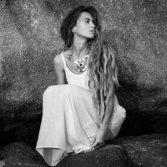 Breathtakingly beautiful pic of @alisa.belochkina wearing our Onyx Sujay Necklace ॐ www.ohmboho.com ॐ