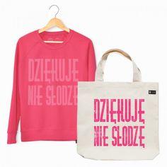 Pewex Zestaw bluza i torba Dziękuję nie słodzę różowa