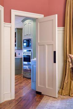 swinging shaker style laundry door:  TS3300   TruStile Doors or masonite has one
