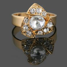 18k Gold Plated Crystal Women Open Mouth Cocktail Ring XN10