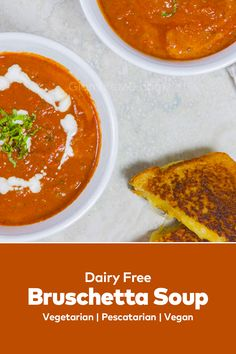 Bruschetta Soup based on a traditional Tuscan delicious lunch recipes is nothing like the tomato soup in a . goes on top for a bruschetta-like experience. Best Lunch Recipes, Tomato Soup, Roasted Garlic, Lunches And Dinners, Bruschetta, Dairy Free, Delish, Easy Meals, Vegetarian