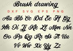 Brush drawing eps Alphabet Numbers font dxf SVG от VectorArtCraft