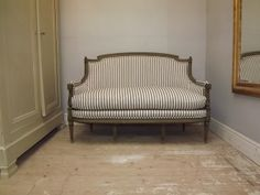Reupholstered French antique Louis XVI sofa / striped fabric / Frenchfinds.co.uk
