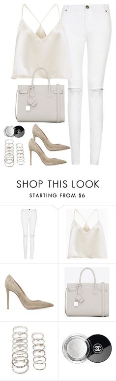 """""""Untitled#4434"""" by fashionnfacts ❤ liked on Polyvore featuring Gianvito Rossi, Yves Saint Laurent, Forever 21 and Chanel"""