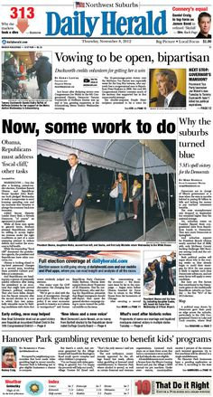 Daily Herald front page, Nov. 8, 2012