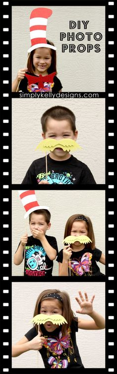 DIY Dr. Seuss Photo Booth Props and Silhouette Portrait Giveaway by Simply Kelly Designs #DrSeuss #CatInTheHat #Lorax