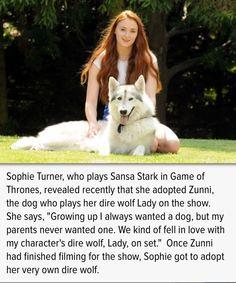 "Sophie Turner - Sansa on ""Game of Thrones"" - has her very own direwolf!"
