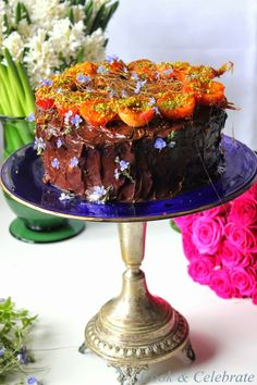 Tort czekoladowy z kremem pistacjowym i morelami