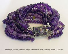 Amethyst and Sterling 10-strand Bracelet One of a Kind and Handmade by A. Denise Rollings-Martin  www.lilygirlart.com or www.etsy.com/listing/151611547/amethyst-and-sterling-silver-9-strand   $219.00