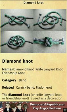 "Diamond Knot - This decorative stopper knot can be used as the ""button"" closure for paracord bracelets."