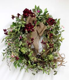 Country Wreath Hanging, Front Door Swag, Wildflowers, Burlap Bow, Summer Wreath, Nest with Eggs, Great for Country Decor