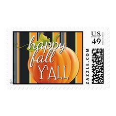 Happy Fall Yall Pumpkin On Vibrant Stripes Pattern Postage - elegant gifts gift ideas custom presents