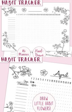 Habit Flowers! How adorable are they?!!!!!! Printable bullet journal monthly habit tracker. Cherry blossom bujo tracker insert. Hand-drawn planner page for A5 planner. Instant download #affiliate #bulletjournaltracker #bujoprintables #planneraddict #habittracker #journalinserts