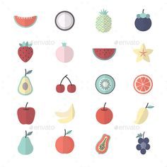 Fruit, Healthy Food Set Of Nature Icon Style Colorful Flat Icons