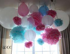 Pom, balloon and lantern hanging display.