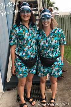 Solid Outfit Ladies wearing our 'Toucan Party' Hawaiian Shirt & Shorts Unisex Sets - shirts available in ladies cut. These look good on the lads or the ladies. Perfect Fancy Dress Costumes for hens night, festivals, fancy dress party, cruise, luau, Australia or any reason to match.  #hawaiianshirt #ladieshawaiianshirt #hensnight #fancydress #luauoutfit #festival #sportsclub #events #springbreak #bachelorette #festival #festivaloutfit
